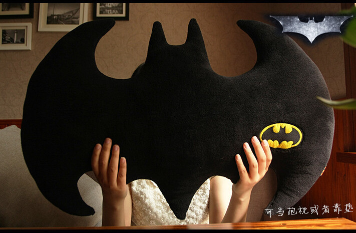 45x30cm Solid Black Batman Cushion Pillow Sofa Bat Throw Pillow Back Cushion Car Gift Stuffed Toy