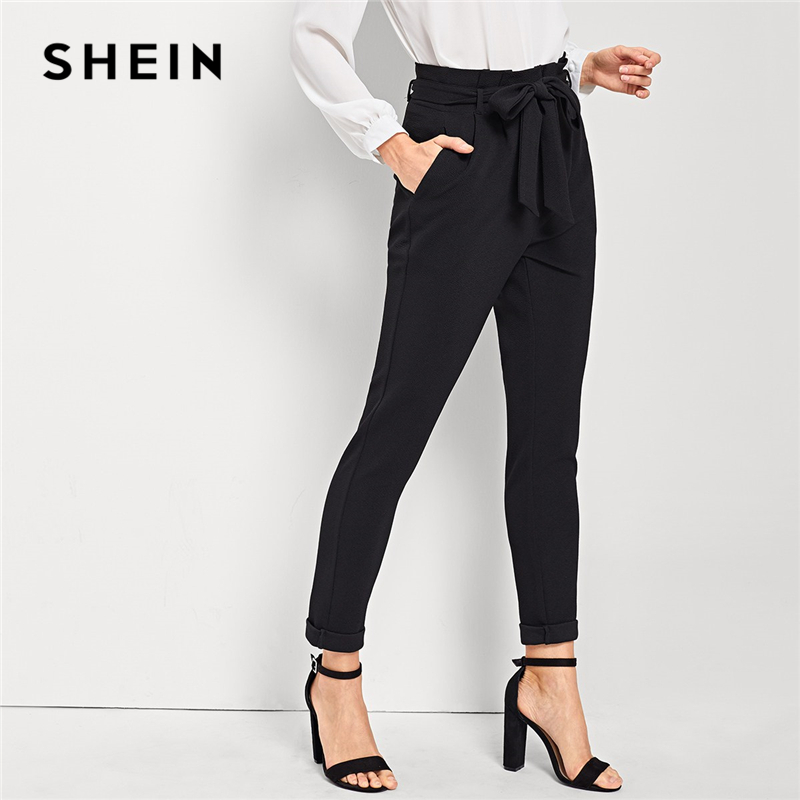 SHEIN Black Elegant Office Lady Slant Pocket Waist Belted Mid Waist Solid Tapered Pants 2018 New Autumn Workwear Women Trousers