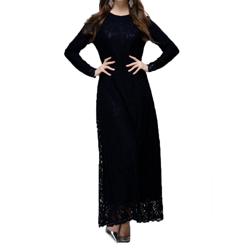 ad285ca9d383 Vintage Style Lady Women Wear Lace Long Sleeve Maxi Dress Kaftan Abaya  Islamic Muslim-in Dresses from Women's Clothing & Accessories on  Aliexpress.com ...