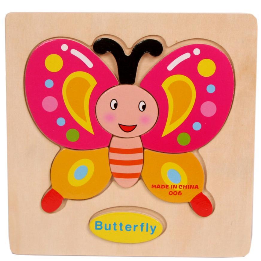 Деревянные головоломки Паззлы дети бабочки Шить Training пицца для маленьких детей открытый игрушка rompecabezas Infantil