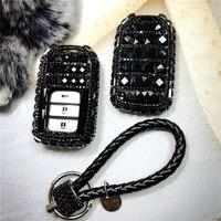 auto key case Diamond Key Chain key Ring shell car key pack cover for Honda Civic CR V Accord XR V Spirior 2/3/4 Button