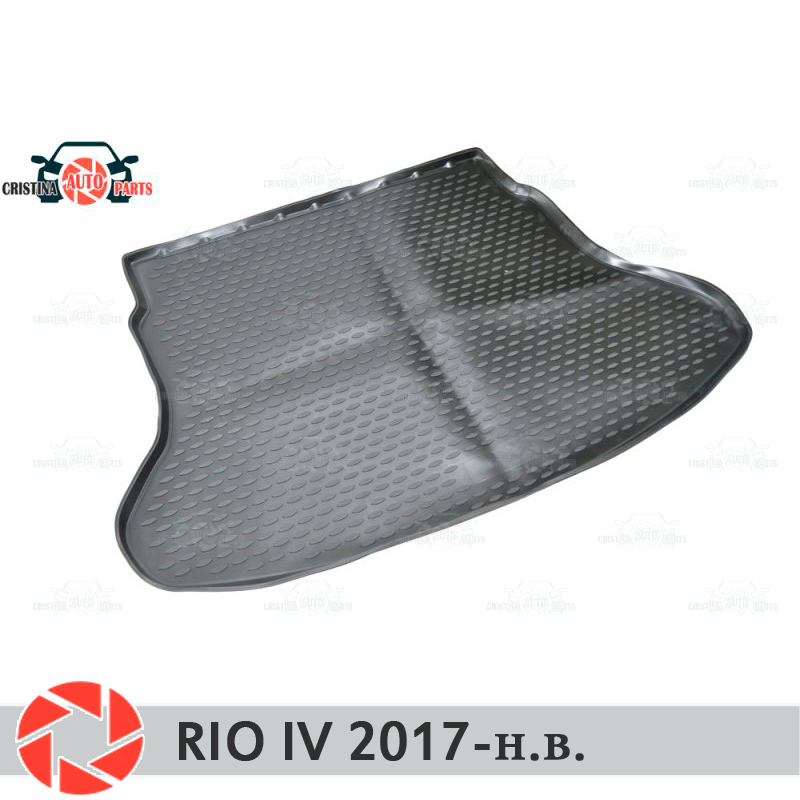 Trunk mat for Kia Rio IV Sedan 2017- trunk mat floor rugs non slip polyurethane dirt protection interior trunk car styling win max wmf09853 comfortable polyester non slip yoga mat towel pink