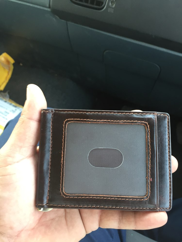 CONTACT'S Crazy Horse cowhide leather RFID money clip slim card wallet trifold male cash clamp man cash holder zip coin pocket photo review