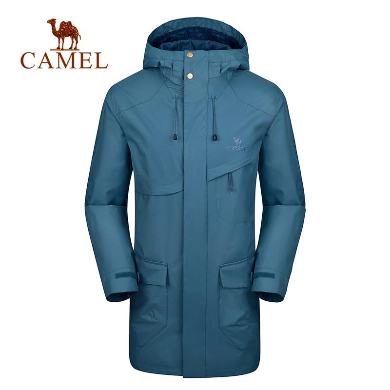 CAMEL Men Women Waterproof Outdoor Long Coat Spring Thin Windproof Hiking Climbing Trekking Camping Ski Jacket Long Windbreaker