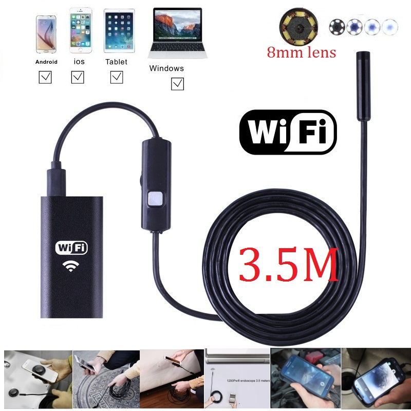 Wifi Endoscope 3.5M Camera 8mm Borescope Waterproof Inspection Camera Smart IOS Iphone and Android Endoskop Windows Mac 8mm 1m 2m 3 5m wifi ios endoscope camera borescope ip67 waterproof inspection for iphone endoscope android pc hd ip camera