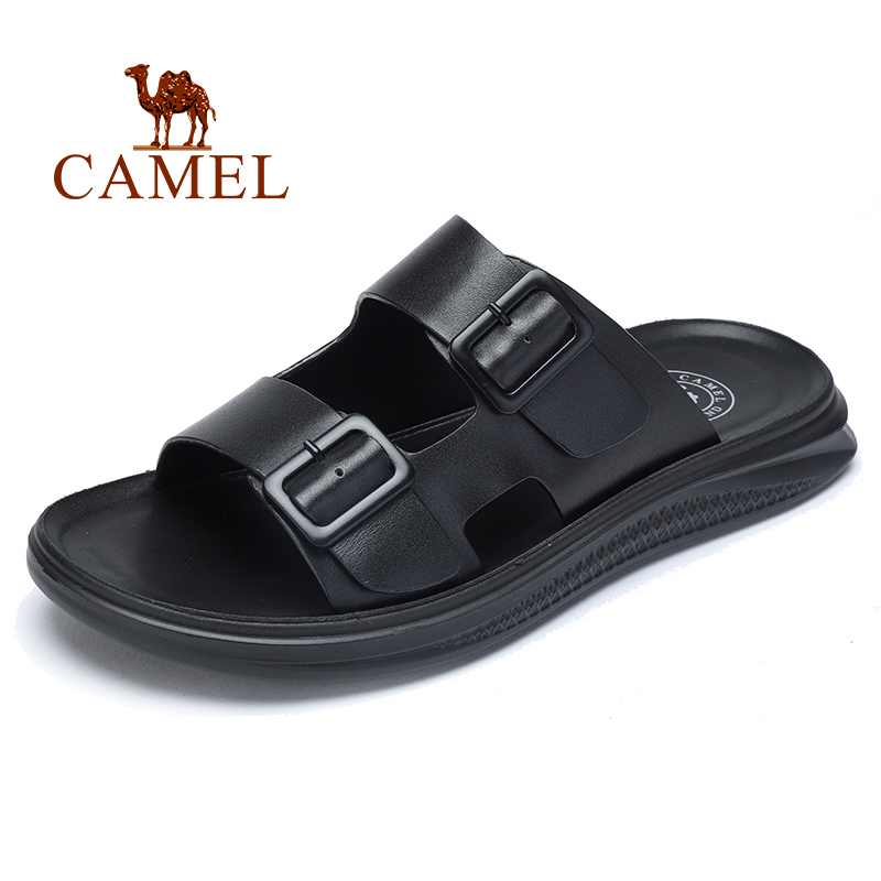 CAMEL Genuine Leather Men's Slippers Business Casual Men Sandals Summer Cowhide Micro-elastic Lightweight Non-slip Men Shoes