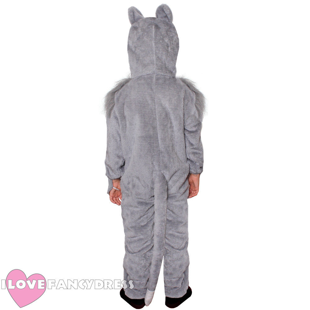 CHILD WOLF COSTUME ANIMAL FANCY DRESS BOYS GIRLS SCHOOL BOOK WEEK CHARACTER