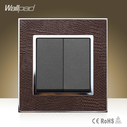 New Arrival Wallpad Hotel Square Design 2 Gang Switch Goats Brown Leather Cover  2 Gang 1 Way Push Button Switch Free Shipping wallpad luxury double 13 a uk switched socket goats brown leather 1 gang switch and 13a wall socket with neon free shipping