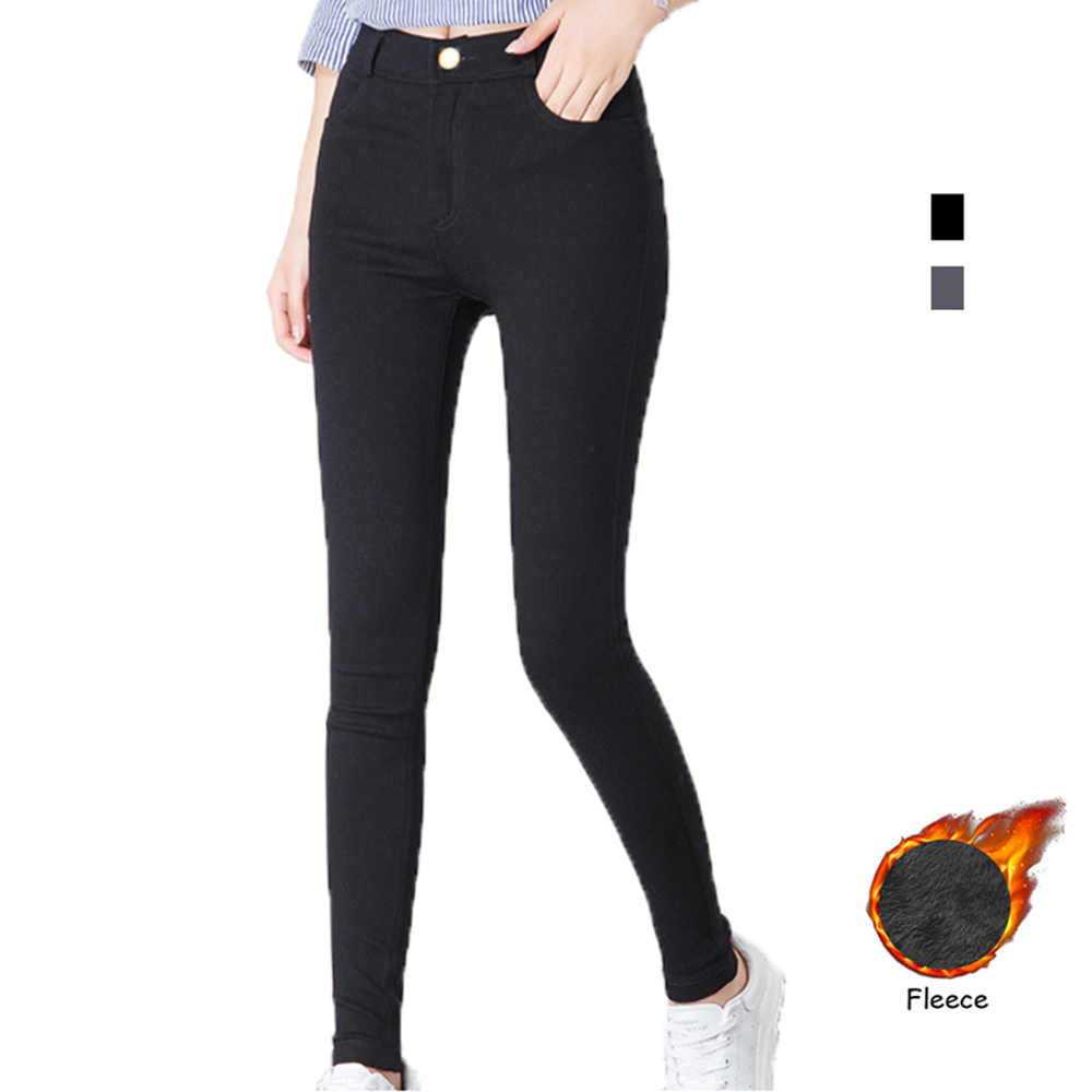 e0a68a8320c92 2018 winter pants women skinny pants fleece lining leggings high waist  jeggings slim fit trouser thick