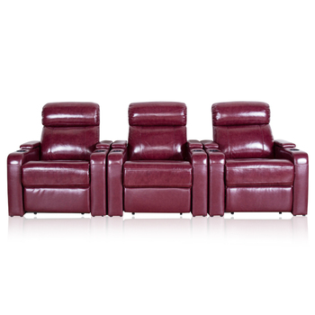Louis Donne Genuine Leather Home Theater Recliner Set (Row of 3), Red recliner