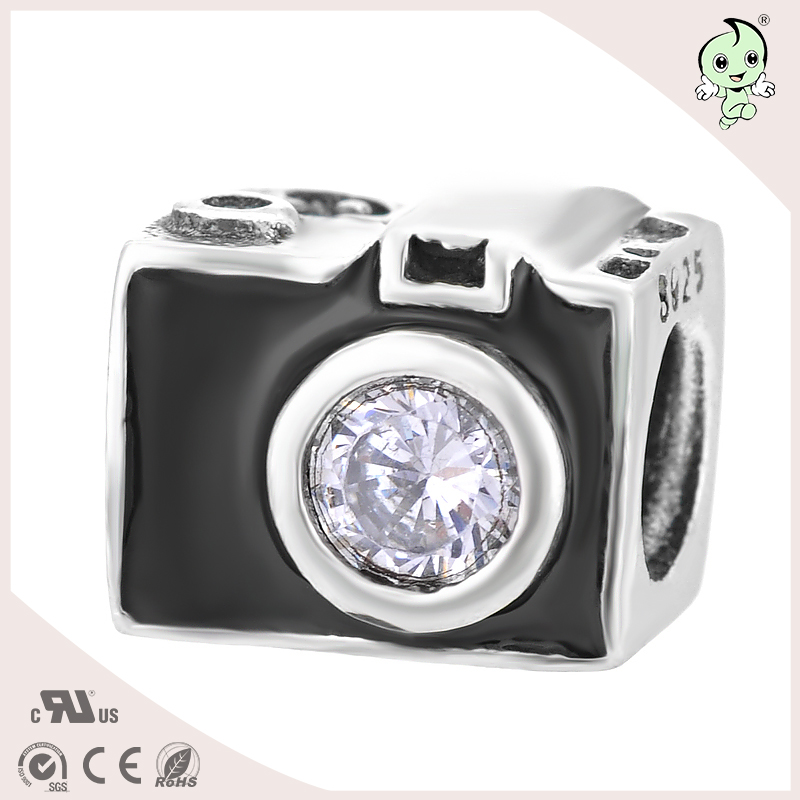 DIY black camera jewelry type S925 Sterling Silver beads or charm for bracelts