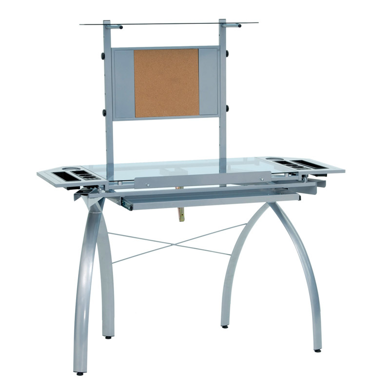 купить Studio Designs Futura Tower Blue Tempered Glass Top Drafting Table - Silver недорого