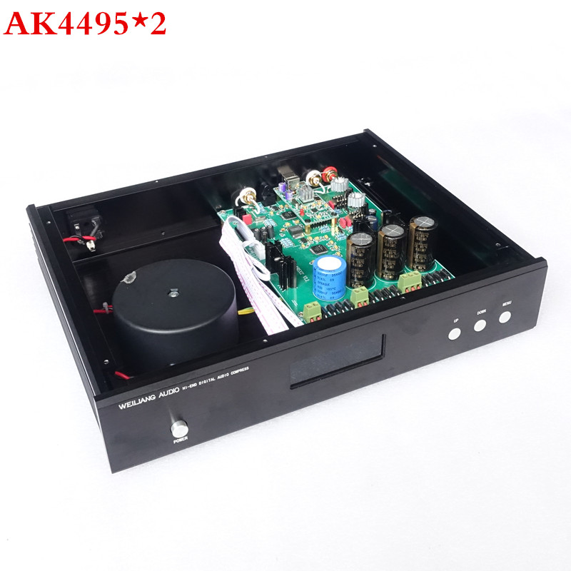 Breeze Audio &weiliang audio Updated version AK4495 *2 + AK4118 + XMOS USB DAC decoder Optical Coaxial input RCA output цена
