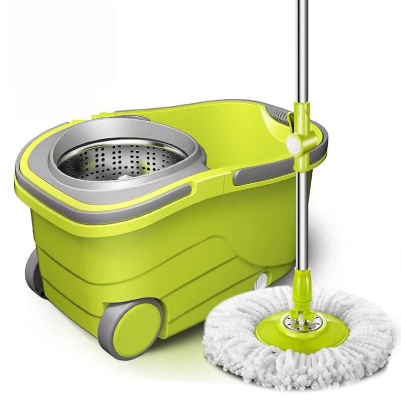 SOKOLTEC Suspensão de Spin Mop Balde Mão Livre Wringing Mop Aço Inoxidável Auto Molhado E Sistema de Limpeza de Microfibra de Limpeza a Seco