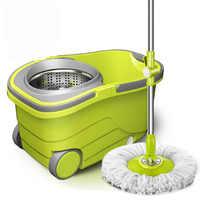 SOKOLTEC suspensión RP girar cubo Manos libres retorciéndose mopa de acero inoxidable la mojado y sistema de limpieza en seco de limpieza de microfibra