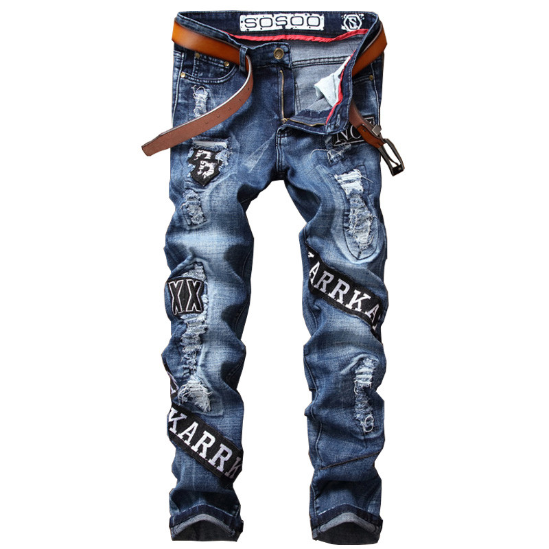Newsosoo Fashion Mens Distressed Patched Jeans Pants Ripped Denim Trousers With Patches For Male Slim Fit Straight Size 29-38