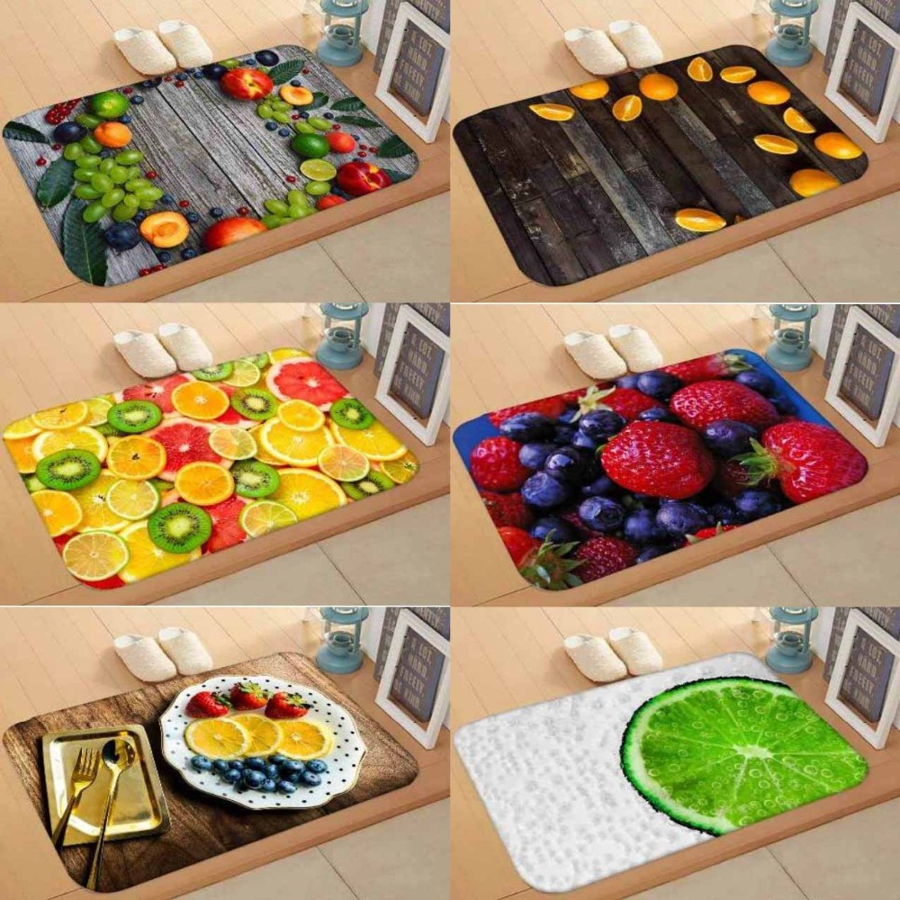 Else Wood on Fresh Fruits Yellow Red Green 3d Digital Print Modern Decorative Floor Door Mat Home Decor Entryway Kitchen 50x80cm image
