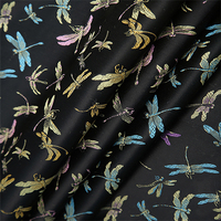 High Quality Nylon Chemical Fiber Brocade Jacquard Black Background Dragonfly Fabric Used For Dress Women Clothing