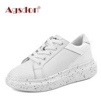 Agsdon Women Leisure Lace Up Shoes Graffiti Flat PU Leather Fashion Party Shoes Metallic Glitter Platform