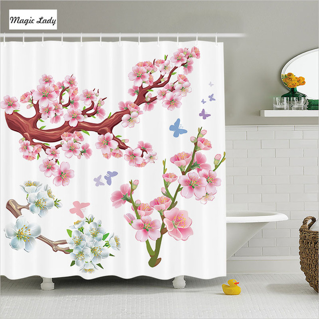 Shower Curtain Japan Bathroom Accessories Collection Branches Spring Garden White Pink Brown Green 180200