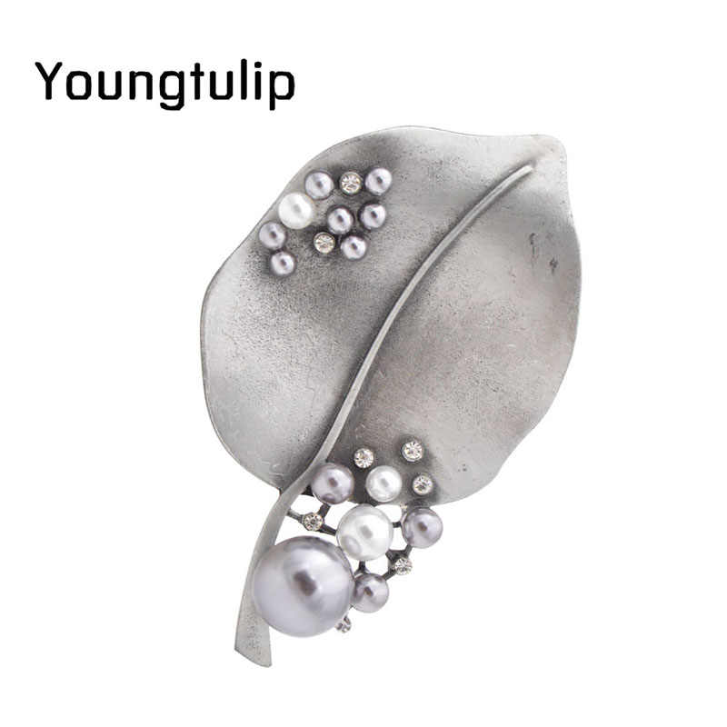 Giovane Tulipano Vintage Grande Foglia Corpetto Spille Elegante Perla Delle Donne Accessori Dei Monili Creativo di Modo del Regalo 2018 Nuovo Stile del Cappotto di Usura