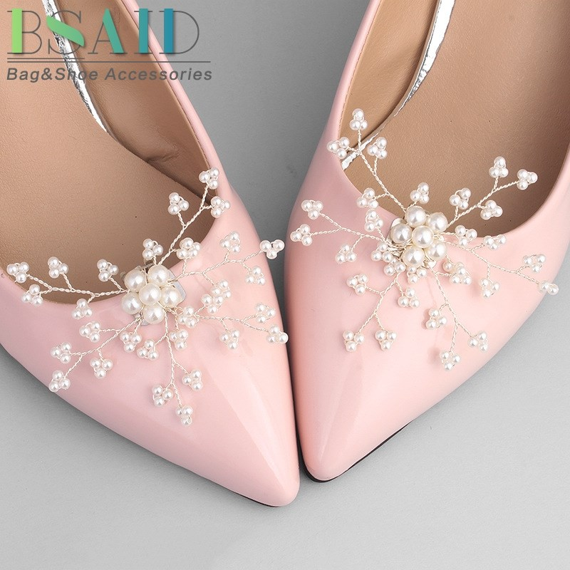 BSAID 1 Pair Pearl Shoe Clip Decoration,Snowflake Charm Wedding Bridal Women Shoes Decorative Shoe Clips Accessories Ornament bsaid1 piece shoes flower rhinestones clip decoration buckle crystal pearl women decorative accessories insert fitting charm
