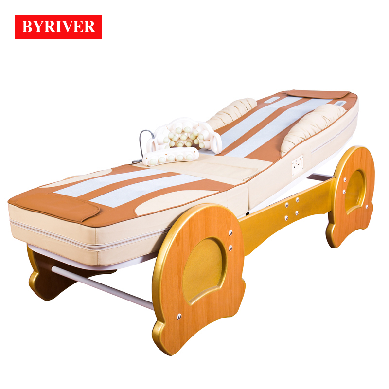 BYRIVER Best Version Roller Lift 3D Therapy Massage Bed Thermal Massager 9+4 Jade Roller Add Back Incline Decline function    -