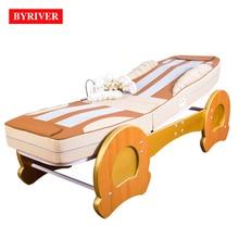 BYRIVER meilleure Version lit de Massage thérapeutique 3D à rouleaux masseur thermique 9 + 4 rouleau de Jade ajouter une fonction dinclinaison en baisse