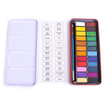 24 Colors Portable Solid Watercolor Paints Set With Paint Brush Iron Box For Drawing Painting Stationary Set фото