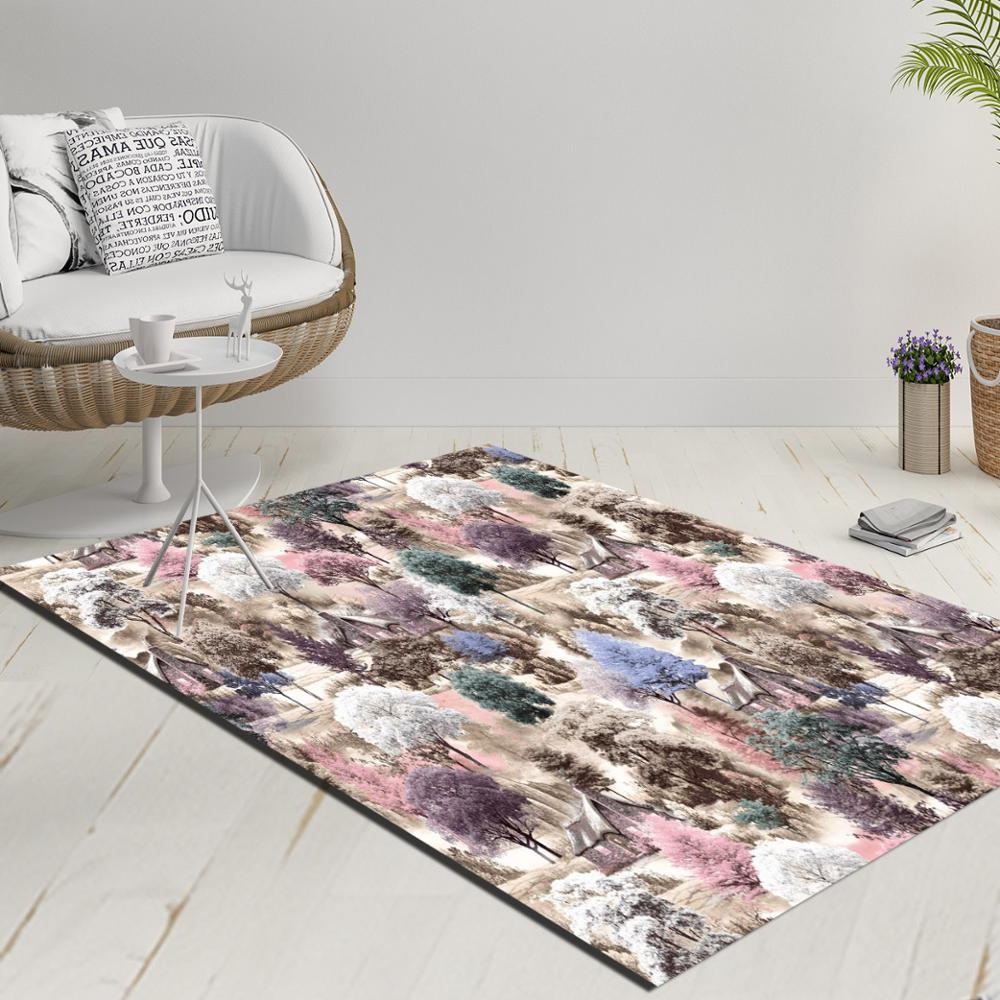 Else Blue Gray Brown Pink Trees Forest Floral 3d Print Anti Slip Kilim Washable Decorative Kilim Rug Modern Carpet