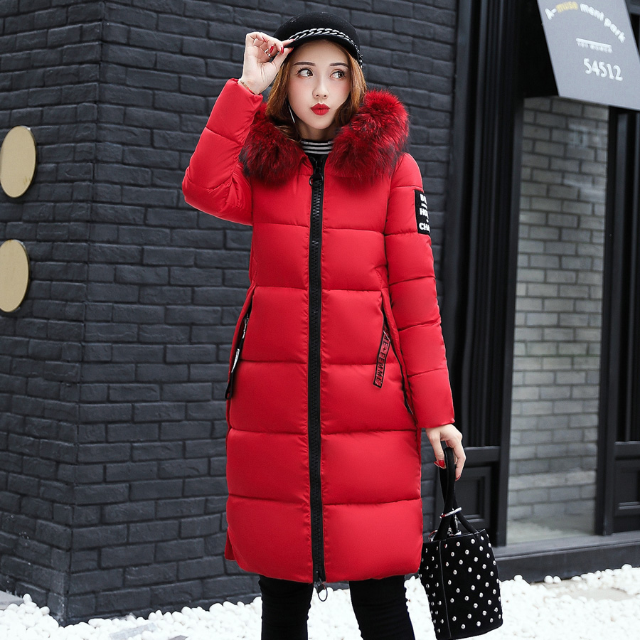 Winter Jacket Women Large Fur Collar Hooded Cotton Padded Long Coat Women   Parka   Thicken Warm Jacket Female