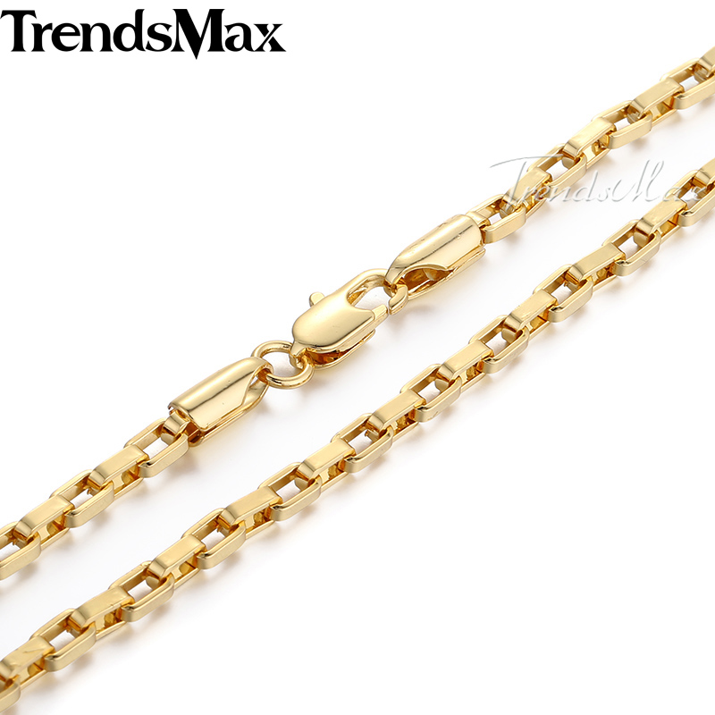 """Trendsmax Fashion Jewelry 3mm Mens Chain Boys Open Box Link Yellow Gold Filled Necklace Custom Length 18-36"""" GN376"""