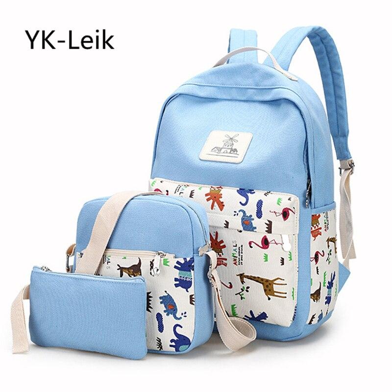 YK вебе-leik корейской моды Средняя школа студентов Сумки для Обувь для девочек высокое качество печатных холст дамы путешествия Рюкзаки сумк...
