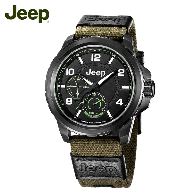 Jeep Originale Degli Uomini Orologi Del Quarzo Esterno di Tela Verde del Calendario Della Cinghia In Acciaio 50 m Impermeabile di Lusso di Marca Maschile Orologio JPW64603