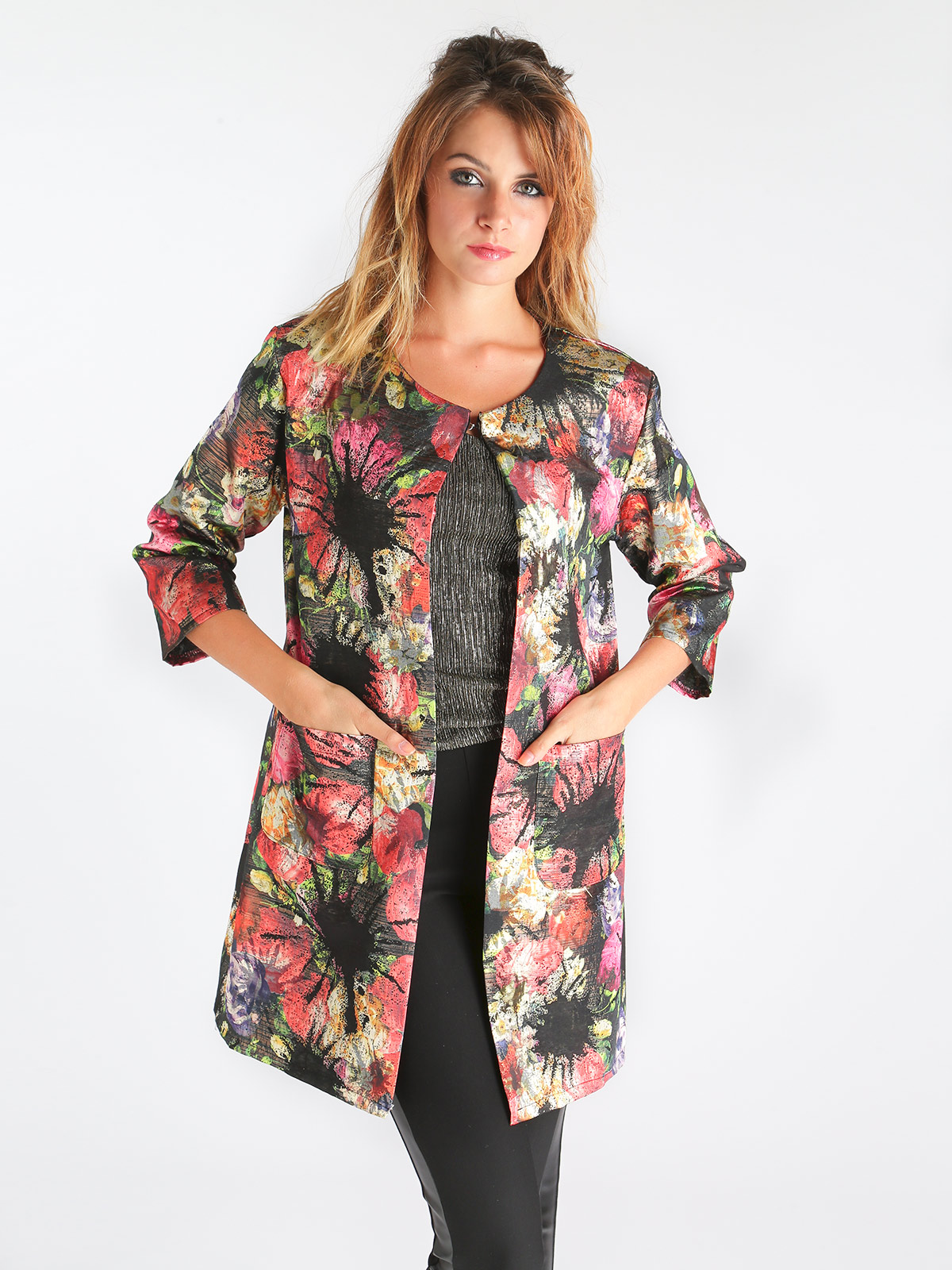 Woman Printing Inner Hook Three Quarter Sleeve Windbreaker Coat
