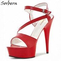 82b858c37a Sorbern 17Cm See Through Abs Plastic Sandals Slingbacks High Heels Retro  Shoes Women Summer Thick Heel. Sorbern 17 cm Ver Através ...