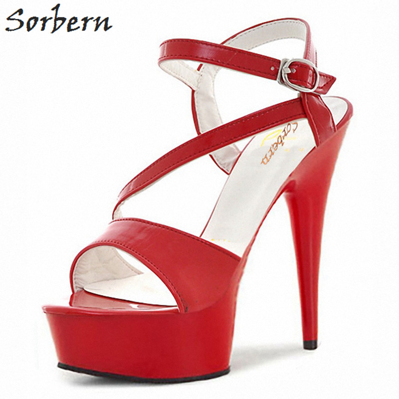 a331594771 Sorbern 17Cm See Through Abs Plastic Sandals Slingbacks High Heels Retro Shoes  Women Summer Thick Heel Summer Shoes Red/Black