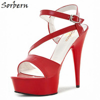 Sorbern 17Cm See Through Abs Plastic Sandals Slingbacks High Heels Retro Shoes Women Summer Thick Heel Summer Shoes Red/Black
