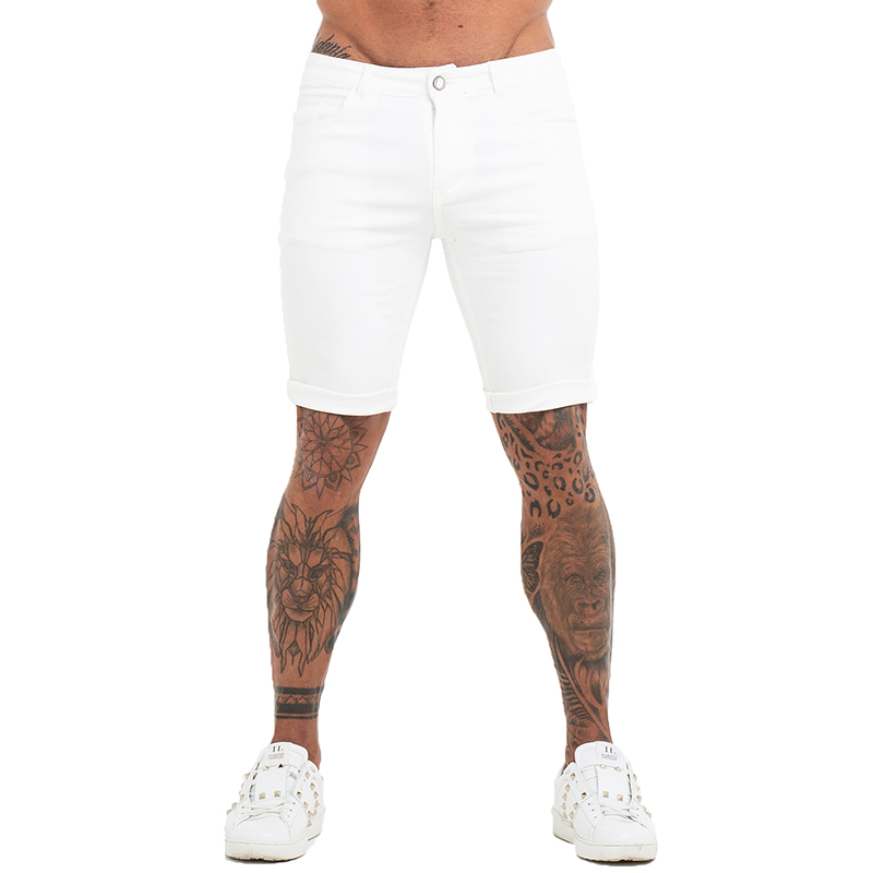 GINGTTO Mens White Skinny Shorts Designer Short   Jeans   High Waist Skinny Fit Stretch Pants Soft Denim Comfy Cotton Trousers dk02