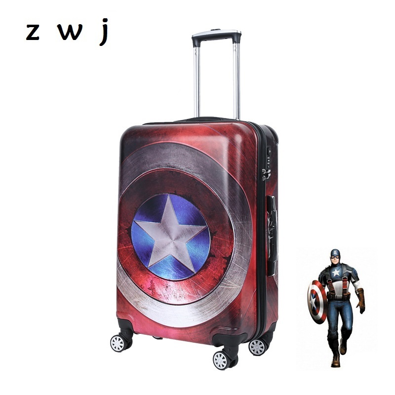 2017 new style Captain America Rolling Luggage super hero Trolley Suitcases Travel Bag for Marvel Heroes fans