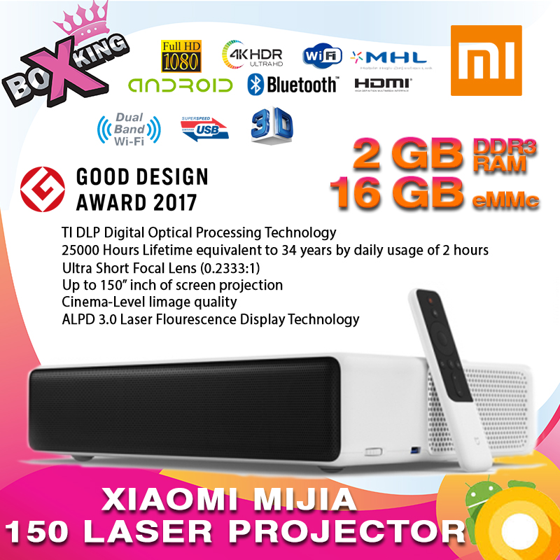 Dernières 2019 Xiaomi Mijia courte portée 150 Laser Projecteur TV international version 4 k 1080 p 2.4g/ 5g Bluetooth Dolby DTS 3D (p20)