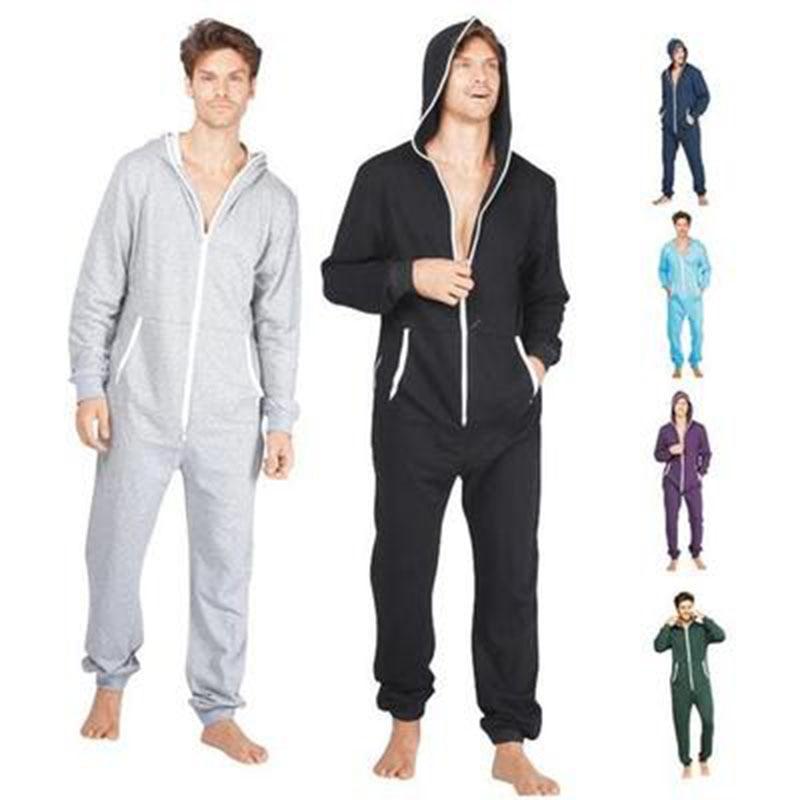 Centuryestar Men's Pajamas Suit Solid Combinaison Pyjama Hooded Zipper Pijama Hombre Una Pieza Adults Onesie S-XXL Black Grey