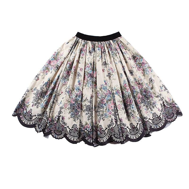 Le palais cru 2018FW Classique Dentelle Imprimé robe de Bal Jupe Mince de Grande Hauteur Élégant Velours Taille Épaissir Satin Jupe
