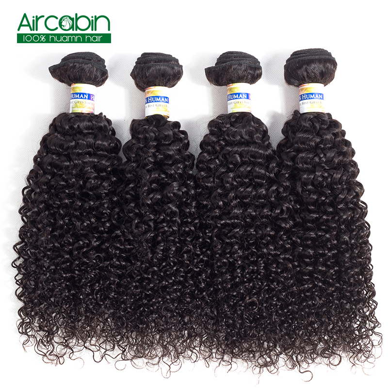 Kinky Curly Hair 4 Bundles Brazilian Human Hair Weave Bundles 100% Remy Curly Hair Natural Black AirCabin