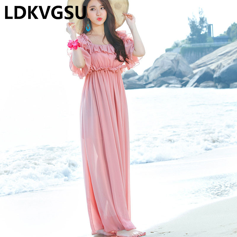 2018 Fashion Summer New Style Women Beach Holiday Dress Strap Chiffon Dress Bohemian A-collar Pink Long Dress Is382