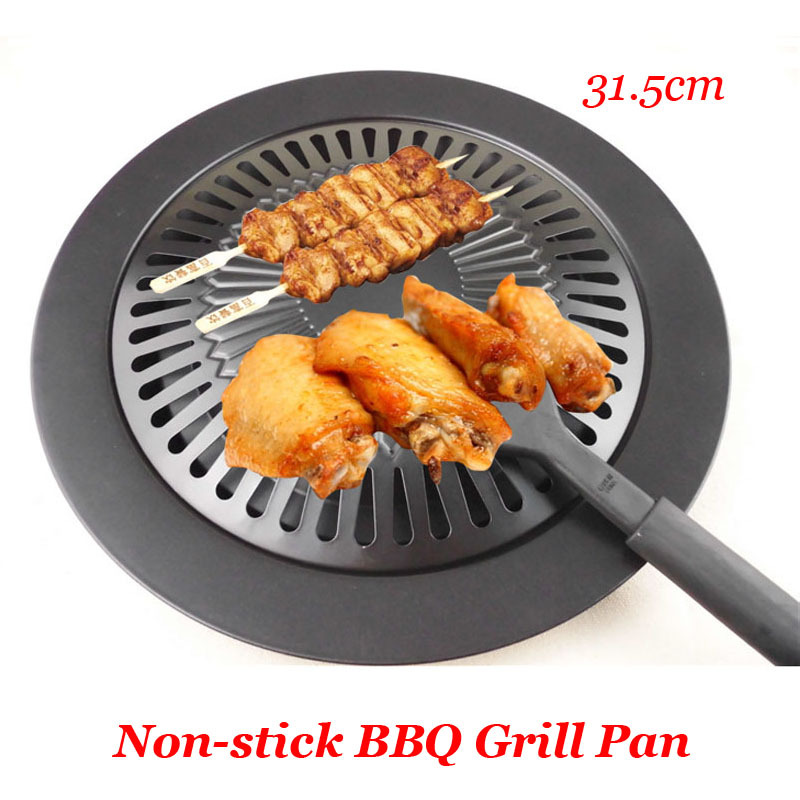 New Cooking Tools BBQ Frying Roasting Pans Non-stick Gas Grill Pan Refined Iron Black Barbecue Outdoor Saucepan