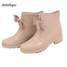 4746c1295 Mujer Botas de lluvia corta bota de goma impermeable zapatos de jardín Anti-Slip  al