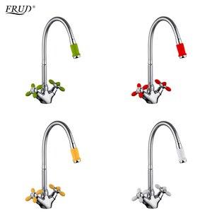 Image 1 - Dolandırıcılık yenilikçi moda mutfak mikseri soğuk ve sıcak su esnek mutfak musluk kırmızı sarı yeşil beyaz musluk Torneira r43127 6