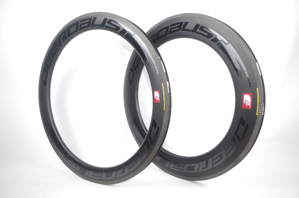 700C Combo Front 60mm Rear 88mm TUBELESS CLINCHER Road Bike Carbon Rims 23mm Wide V Shape Bicycle Wheel Rim