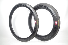 цена на 700C Combo Front 60mm Rear 88mm TUBELESS CLINCHER Road Bike Carbon Rims 23mm Wide V Shape Bicycle Wheel Rim